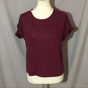Tops - Andeawy Burgundy ruffle short sleeves